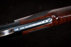 Turnbull restored Winchester 1873 with charcoal blued receiver (top tang close-up)