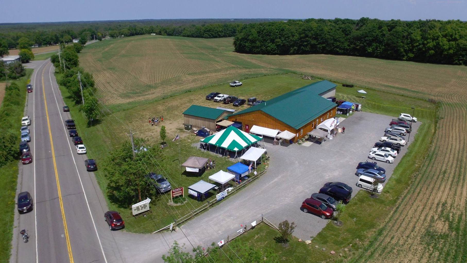 Aerial view of The Firing Pin, Bergen, NY