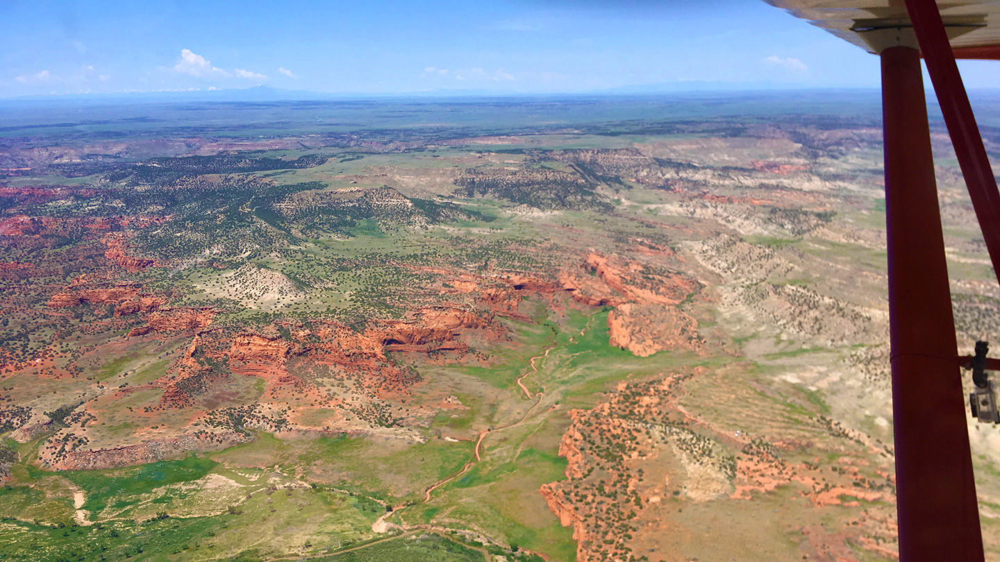 Doug Turnbull flying over the red rocks of south east Colorado