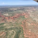 Aerial photo of the red rocks of south east Colorado