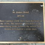 Photo of sign outside St. James Hotel in Cimarron, New Mexico