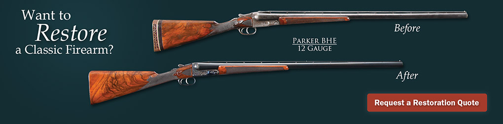 Before and after photos of a Parker BHE 12 Gauge shotgun