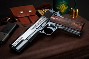 Engraved Turnbull Model 1911 with high polish charcoal bluing