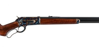 Photo of a Turnbull Restoration Model 1886 lever action rifle chambered in .475 Turnbull, and featuring period-correct color case hardening