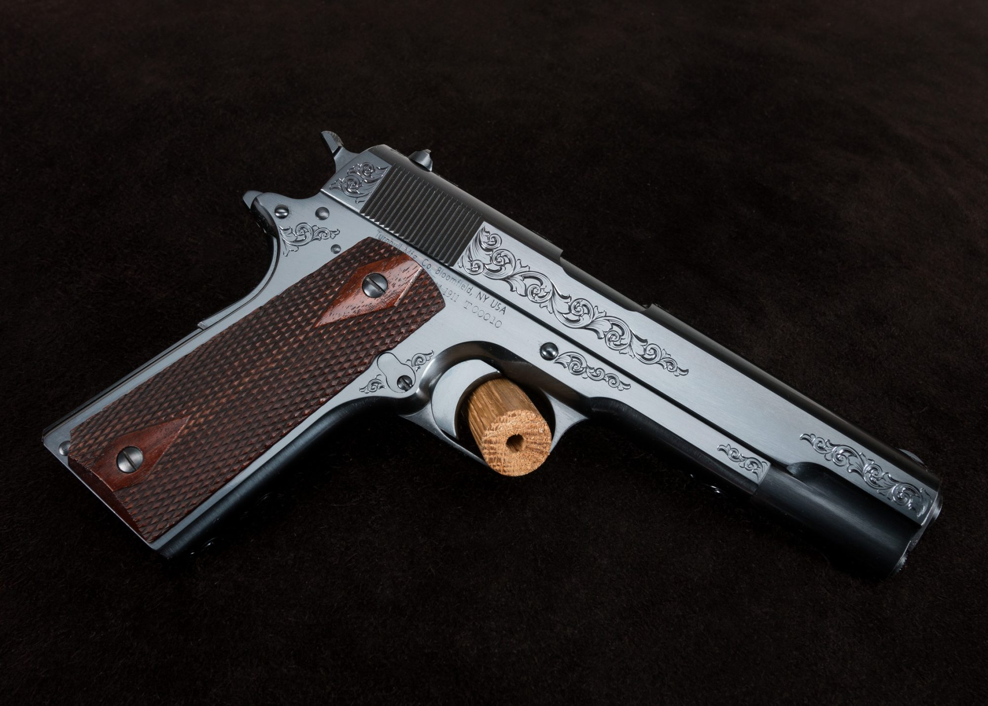 Engraved Turnbull Restoration Model 1911 with high polish charcoal blue