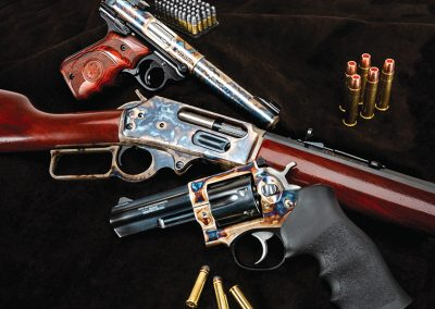 Photo of new production Turnbull finished Ruger and Marlin firearms, featuring classic-era metal and wood finishes