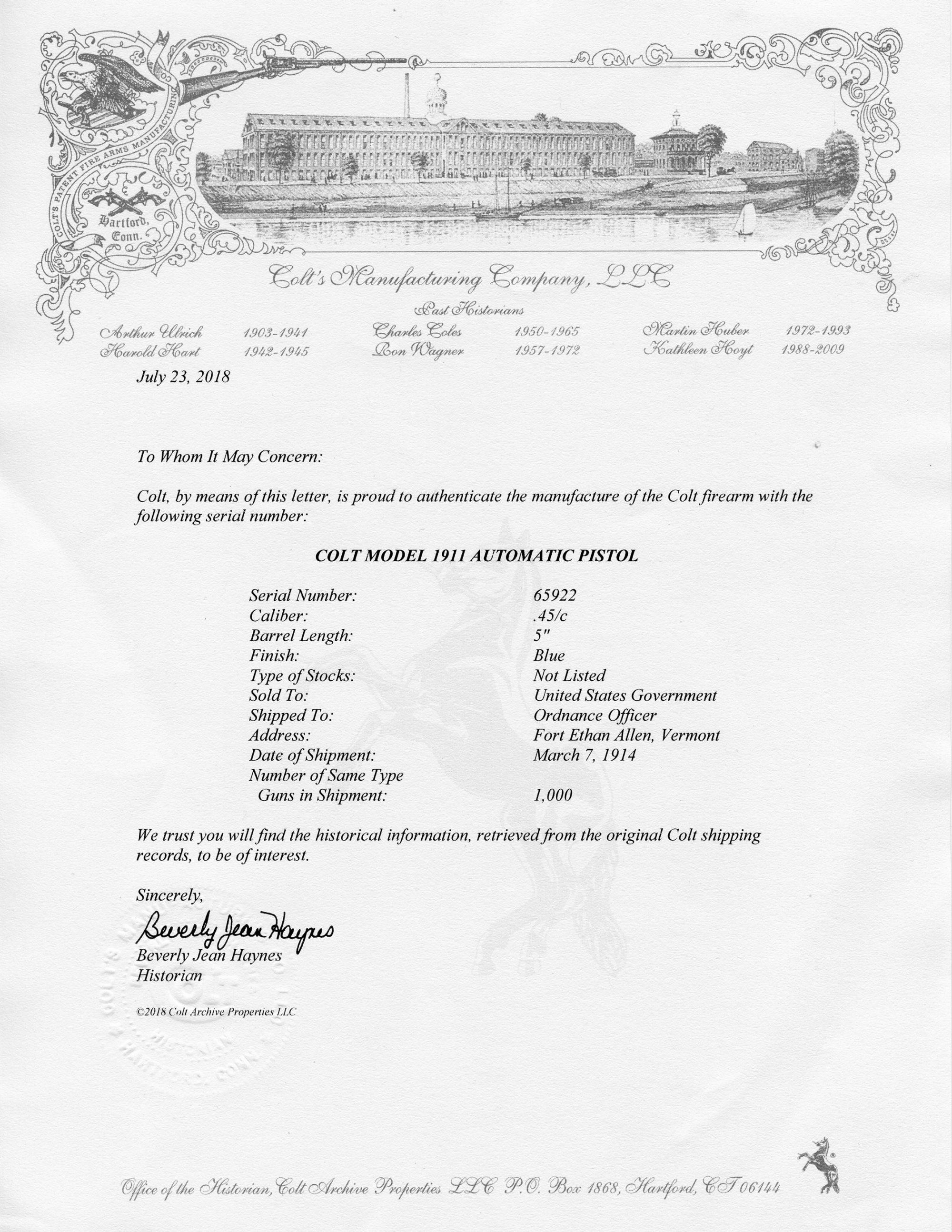 Colt 1911 factory letter