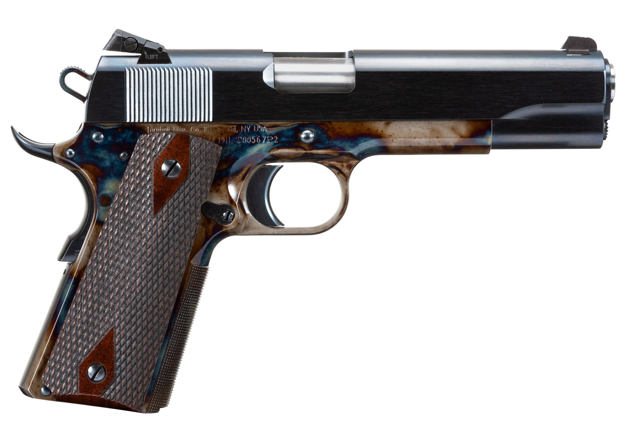 Turnbull Government Heritage Model 1911 with color case hardened frame and charcoal blued slide
