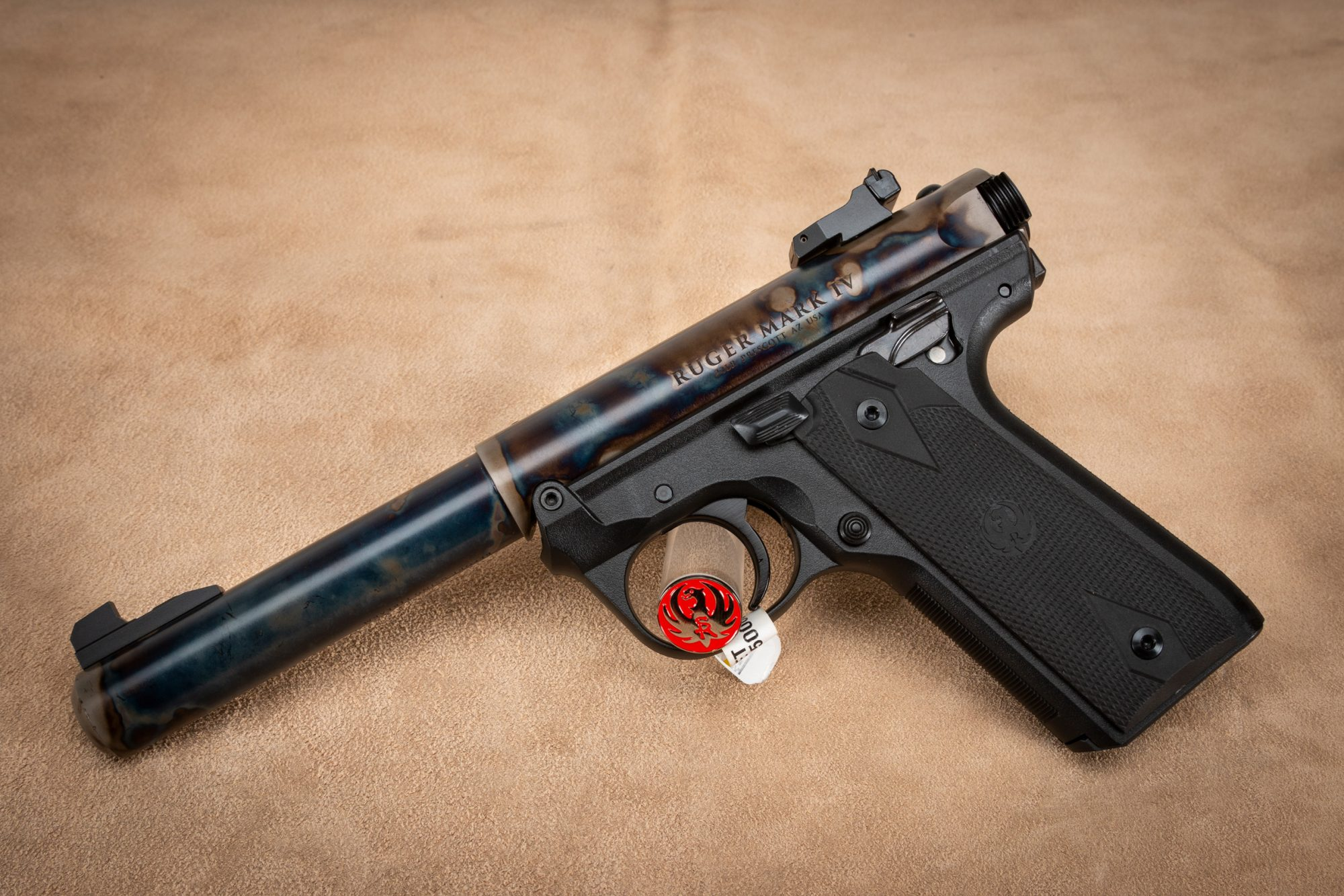 Photo of Ruger Mark IV 22/45 featuring Turnbull Restoration color case hardened barrel