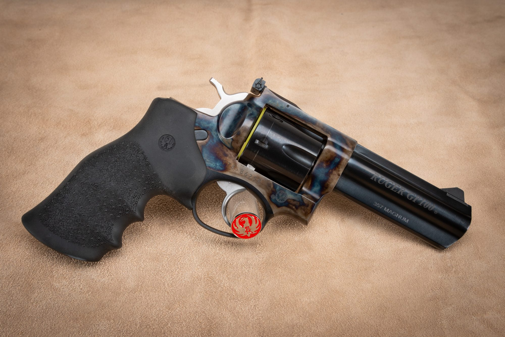 Photo of Ruger GP100 in .357 Magnum featuring Turnbull Restoration color case hardened frame