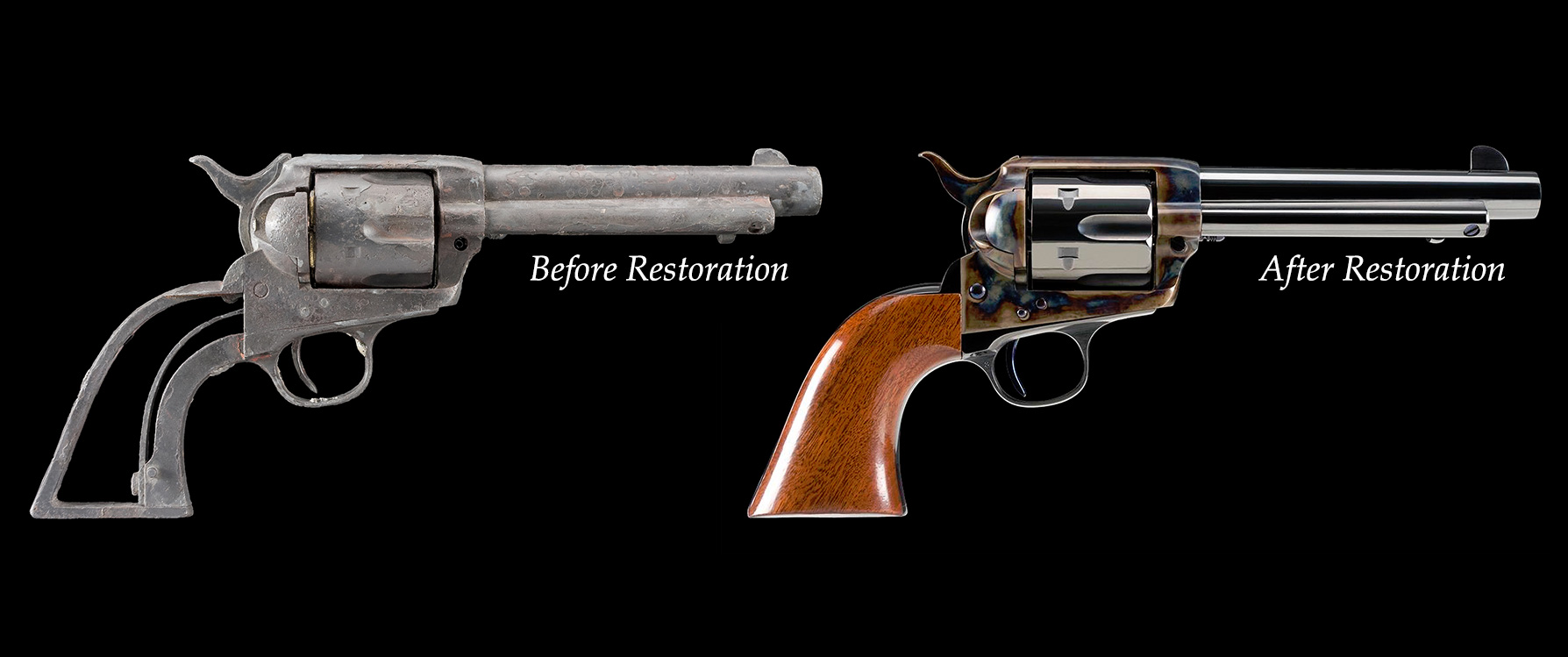 Photo of fire damaged Colt SAA before and after firearm restoration