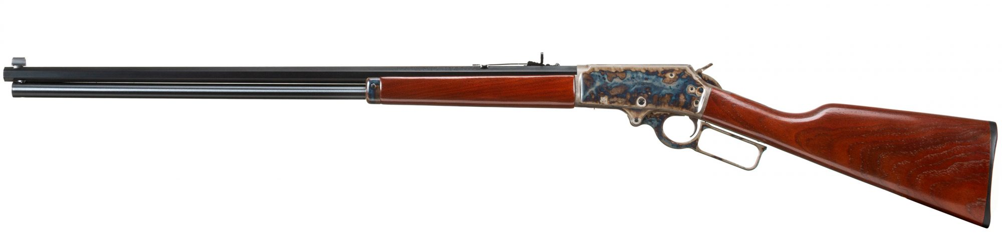 Photo of Marlin 1895CB chambered in .470 Turnbull, featuring Turnbull Restoration color case hardened action and forend cap