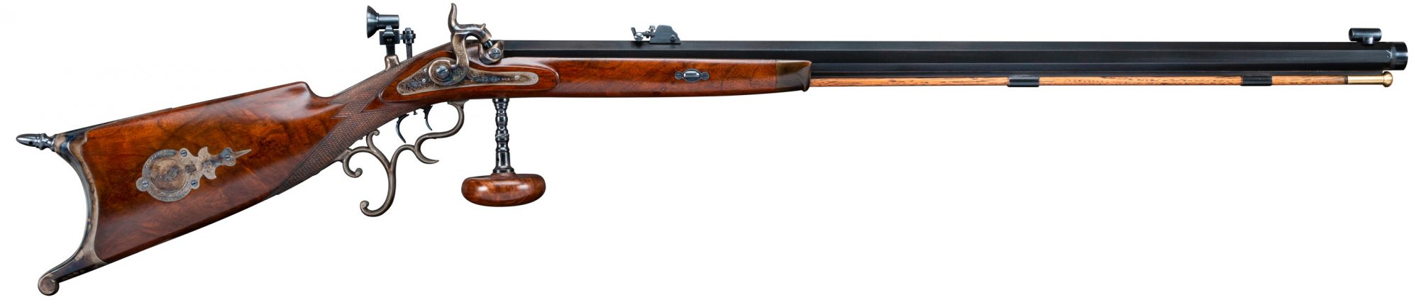 Photo of Germanic-themed percussion Schuetzen rifle, after restoration by Turnbull Restoration Co.
