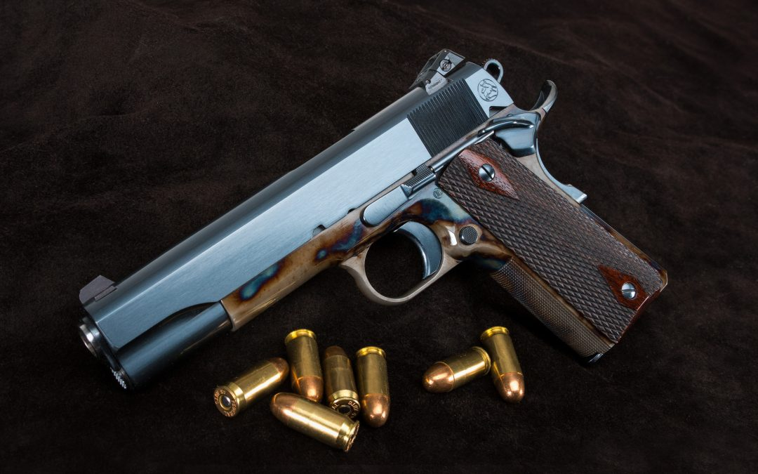 Photo of a new Turnbull Model 1911 Government Heritage, featuring bone charcoal color case hardening