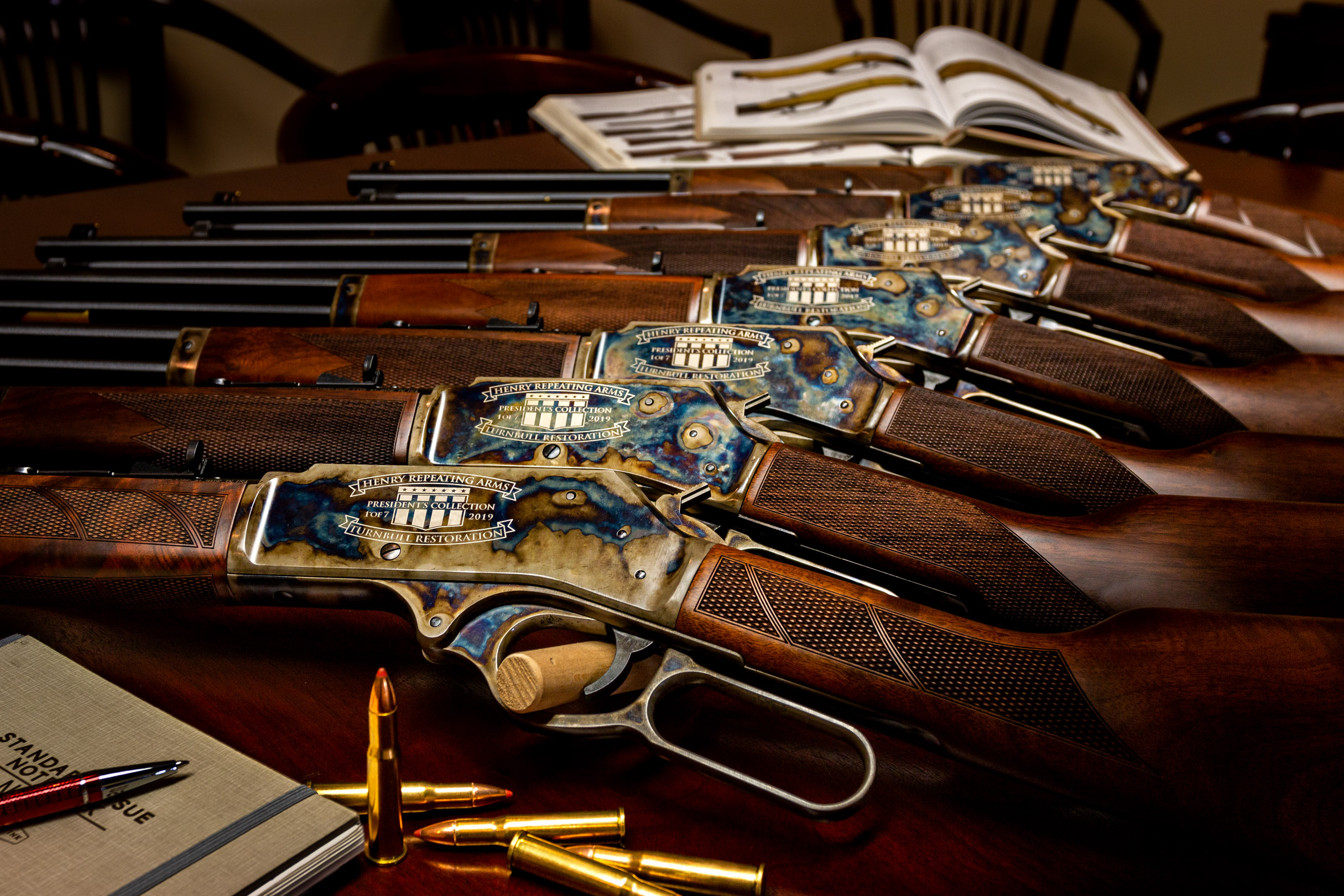 Photograph of the Henry Repeating Arms - Turnbull Restoration President's Collection, featuring Turnbull's bone charcoal color case hardening
