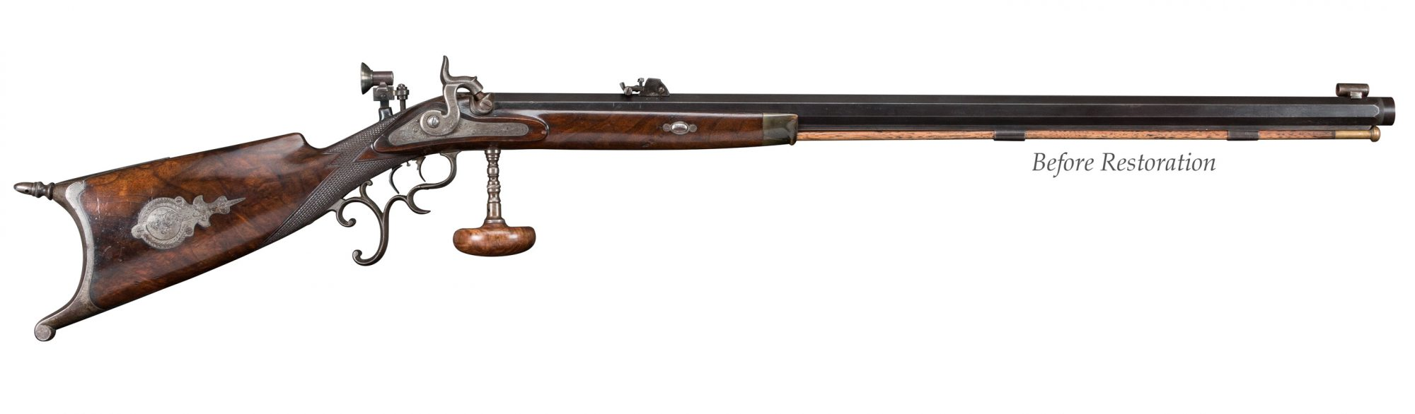 Photo of Germanic-themed percussion Schuetzen rifle, before restoration by Turnbull Restoration Co.