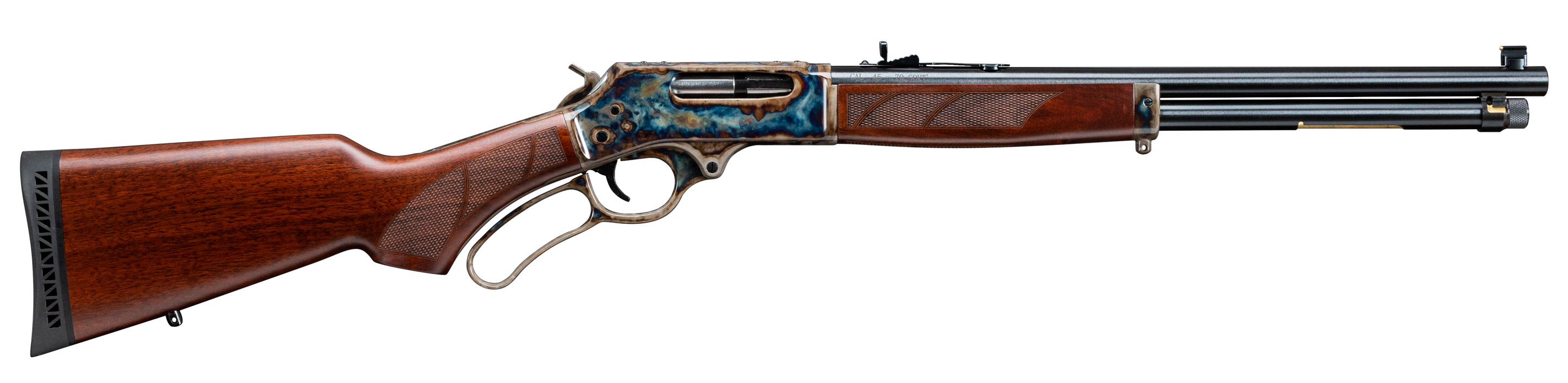 Photograph of a Henry Repeating Arms - Turnbull Restoration limited edition .45-70, featuring Turnbull's bone charcoal color case hardening