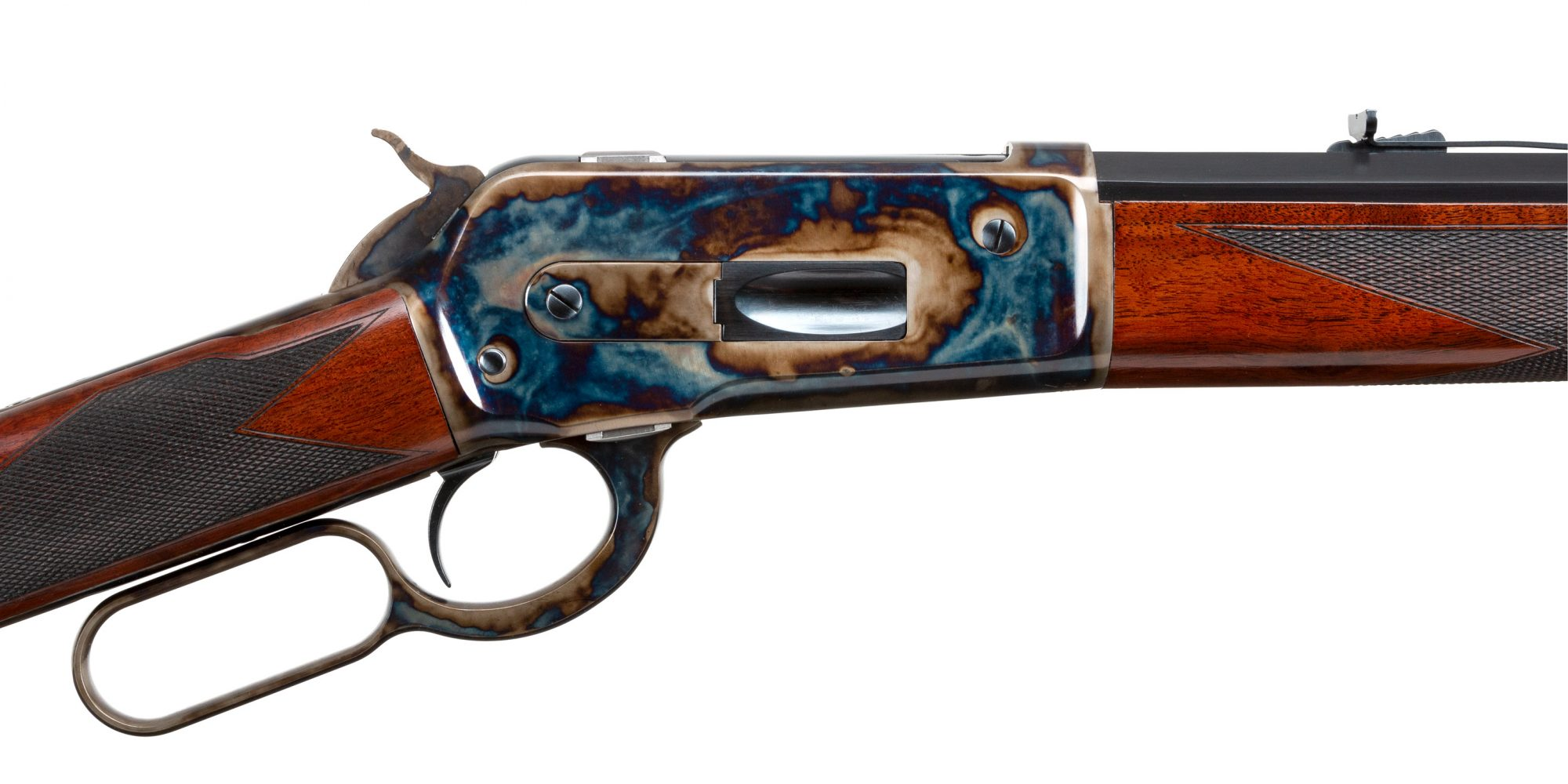Photo of a Turnbull Model 1886 rifle chambered in .45-70 Govt., and featuring all period-correct finishes including color case hardening