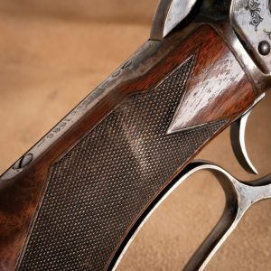 Checkering scuffs detail, photo of Doug Turnbull's personal Winchester Model 1886 , 10 years from restoration