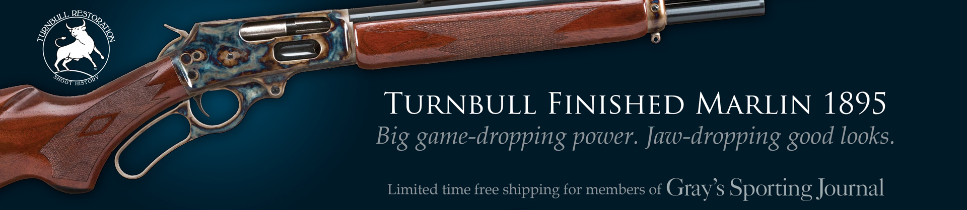 Turnbull Restoration promotion with Gray's Sporting Journal, featuring color case hardened Marlin 1895