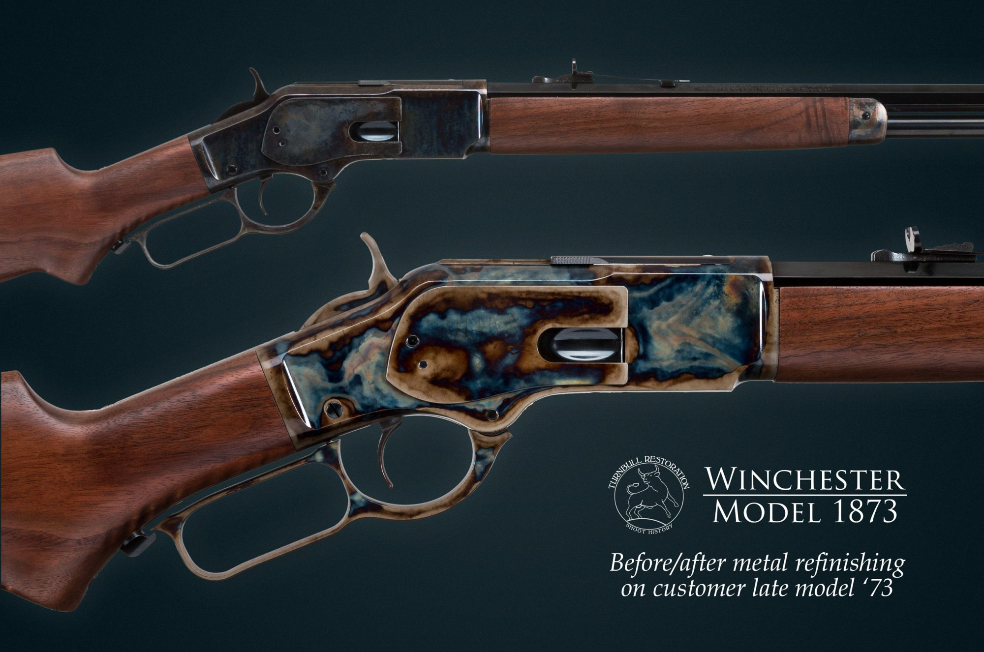 Photo of Turnbull Restoration color case hardening as applied to a late model Winchester 1873