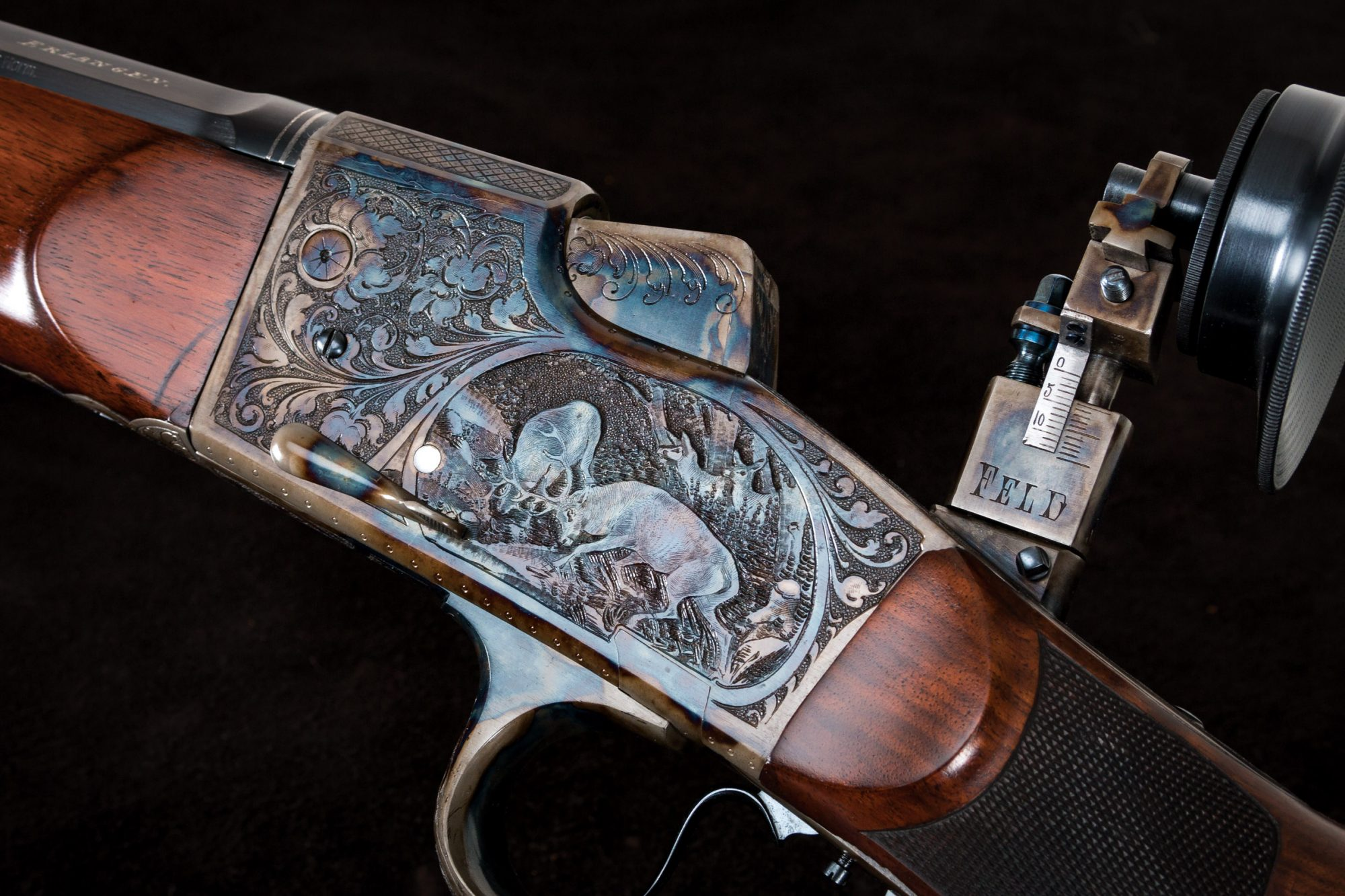Restored color case hardened and engraved German gun receiver, originally manufactured in the 1920s, restored by Turnbull Restoration and featuring all period-correct metal and wood finishes
