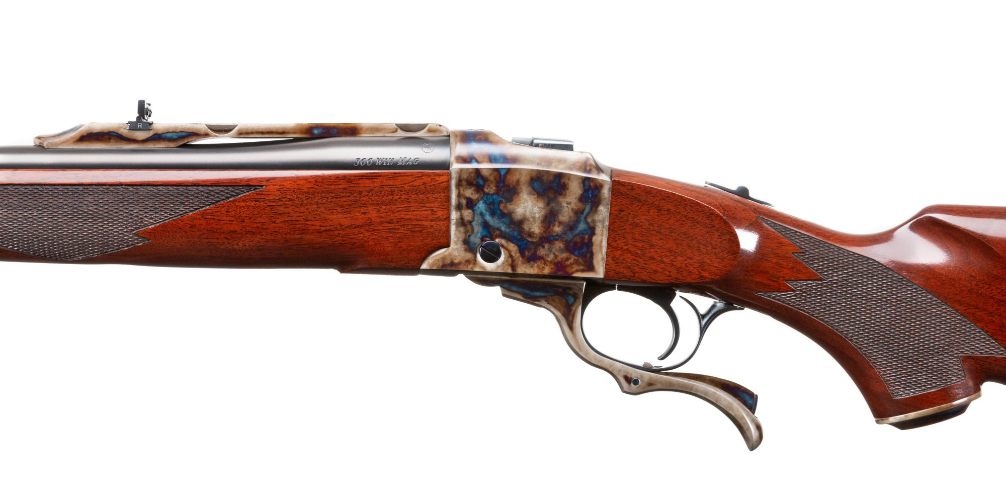 Photo of Ruger No 1 rifle, fully refinished by Turnbull Restoration, featuring bone charcoal color case hardening and hand re-finished wood