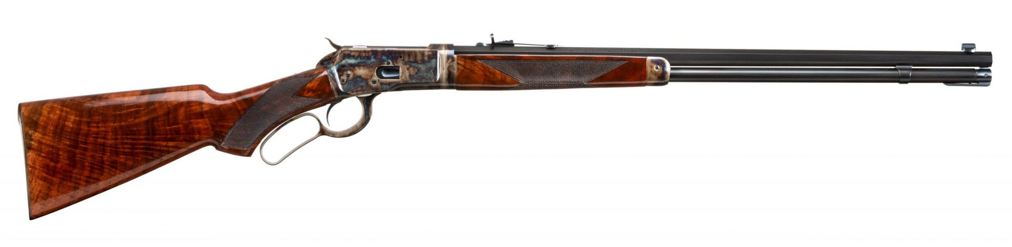 Photo of a Turnbull Finished Winchester 1892 Deluxe Takedown, featuring case color hardening, rust blue barrel and magazine tube finish, and hand-rubbed oil wood finish