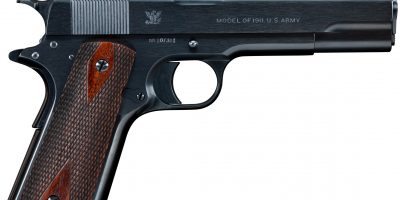 Photo of a Springfield Model 1911 from 1914, fully restored by Turnbull Restoration and featuring period-correct charcoal bluing