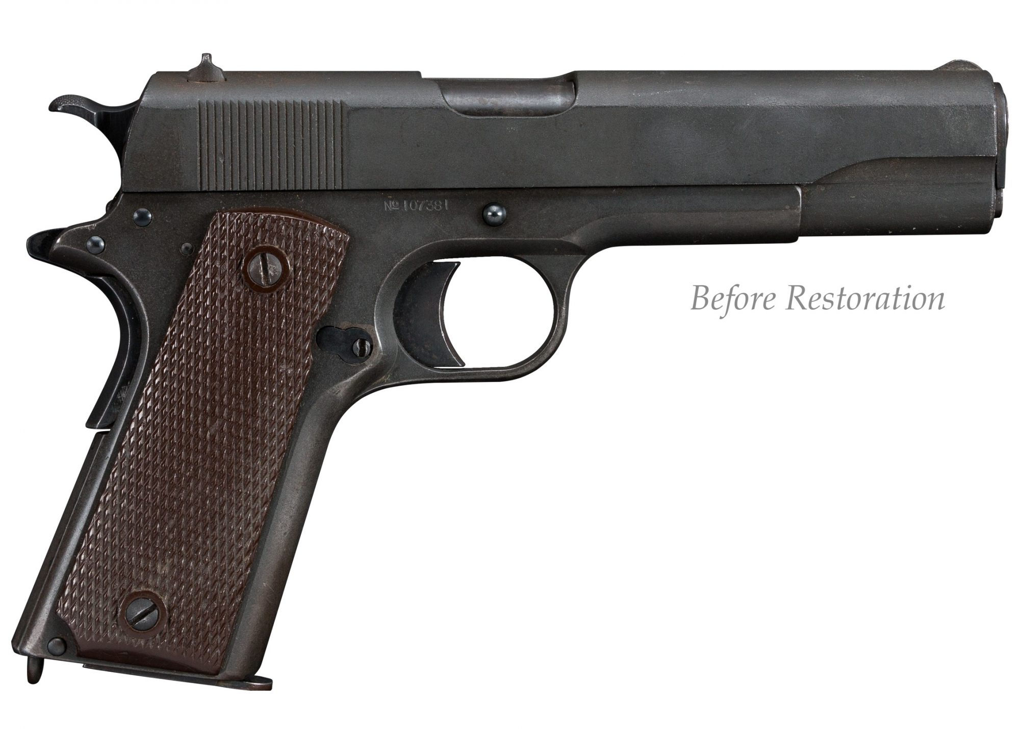 Photo of a Springfield Model 1911 from 1914, before full restoration by Turnbull Restoration
