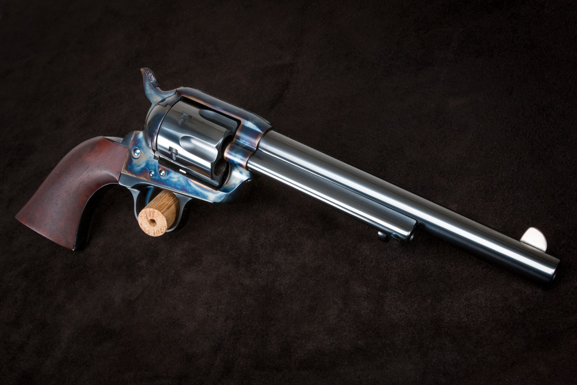 Photo of a Uberti Single Action Army revolver, with color case hardened frame by Turnbull Restoration