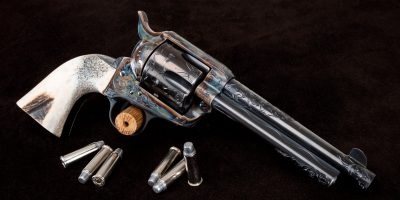 Photo of a pre-owned Turnbull Open Range single action revolver featuring Turnbull color case hardening and other period correct metal finishes, sold as-is through Turnbull Restoration