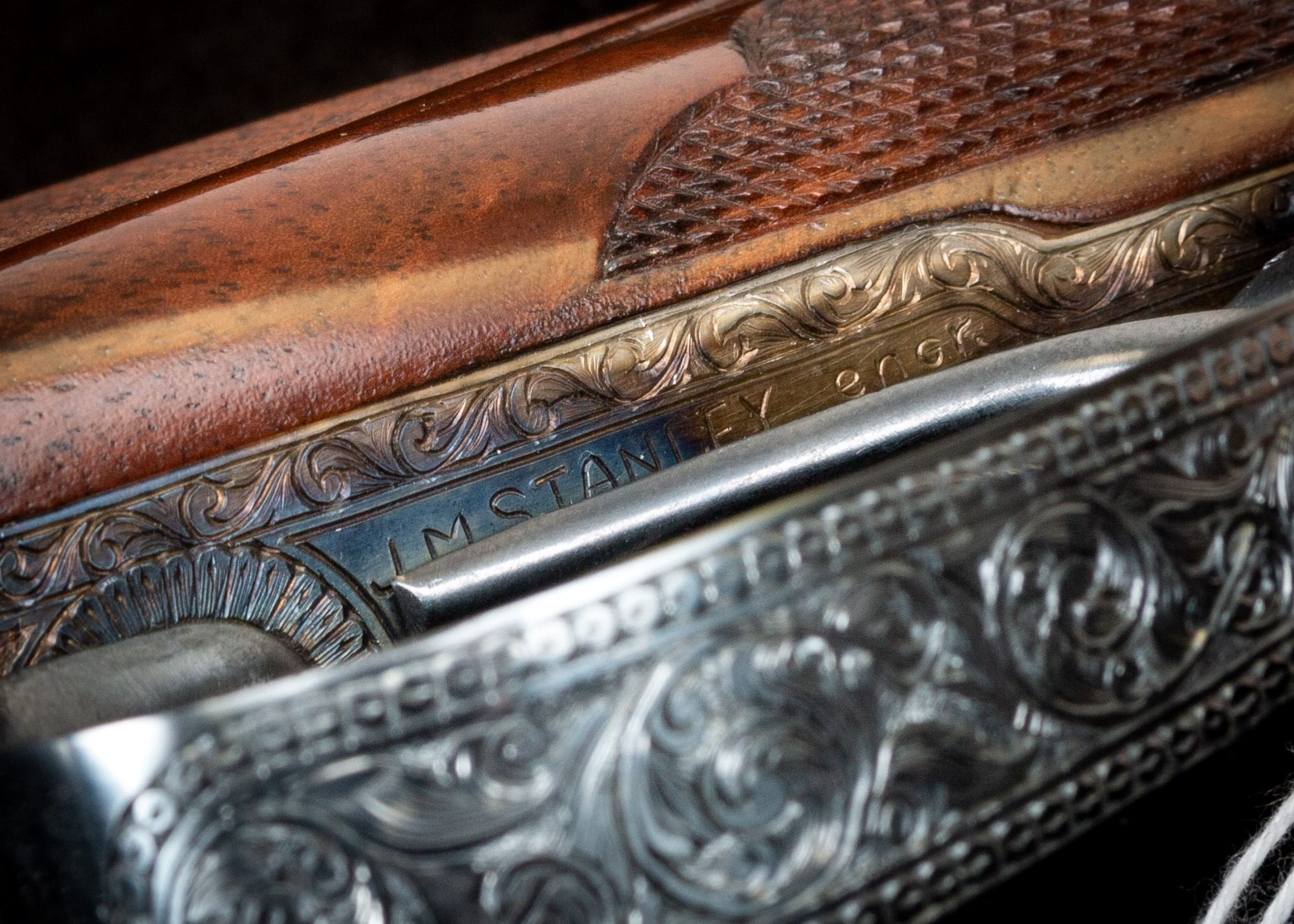Photo of pre-owned Parker VHE 20 gauge shotgun, upgraded by previous owner to A1 Special. Features color case hardening and other metal finishes by Turnbull Restoration