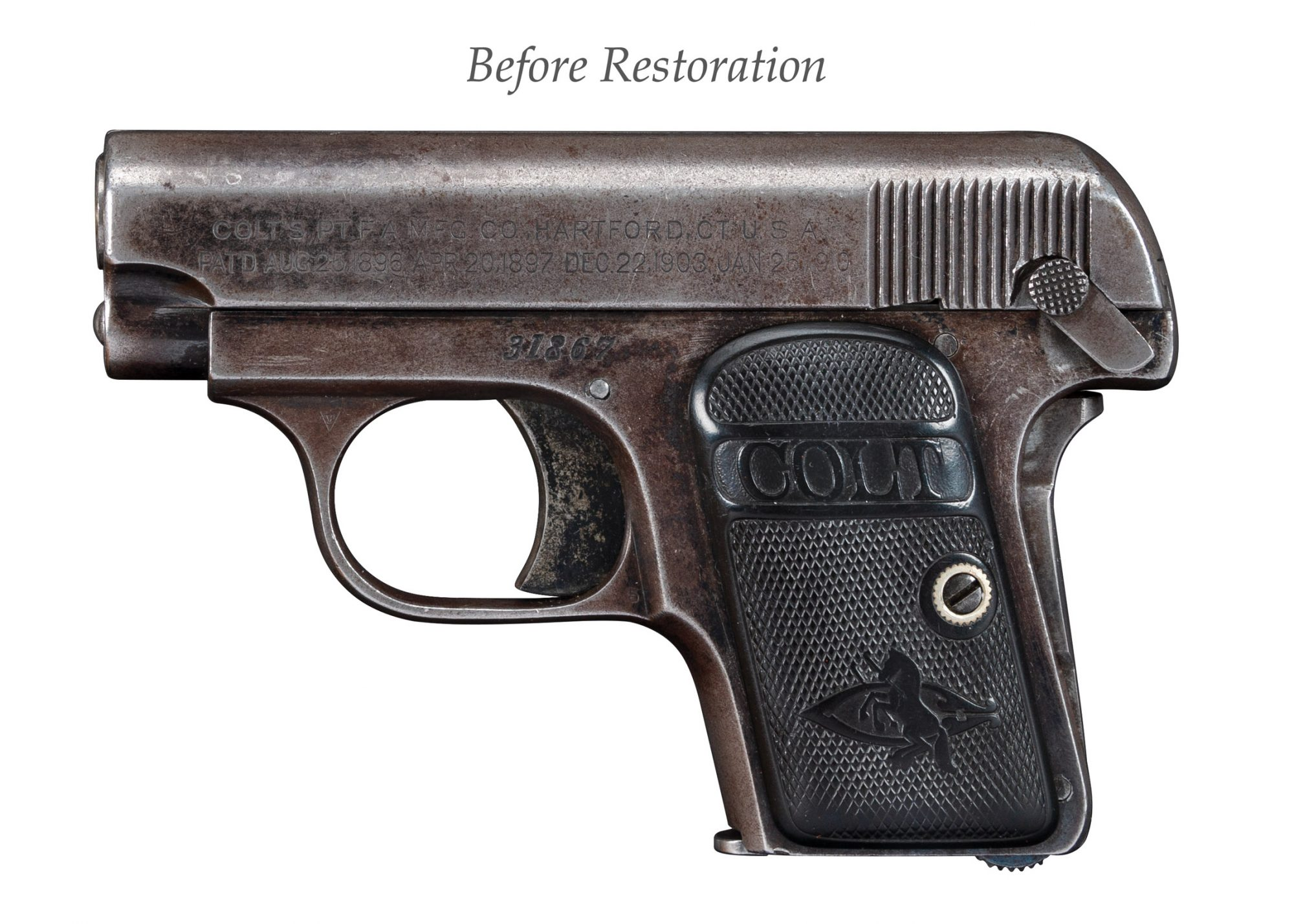 Photo of a Colt 1908 Vest Pocket, before restoration by Turnbull Restoration
