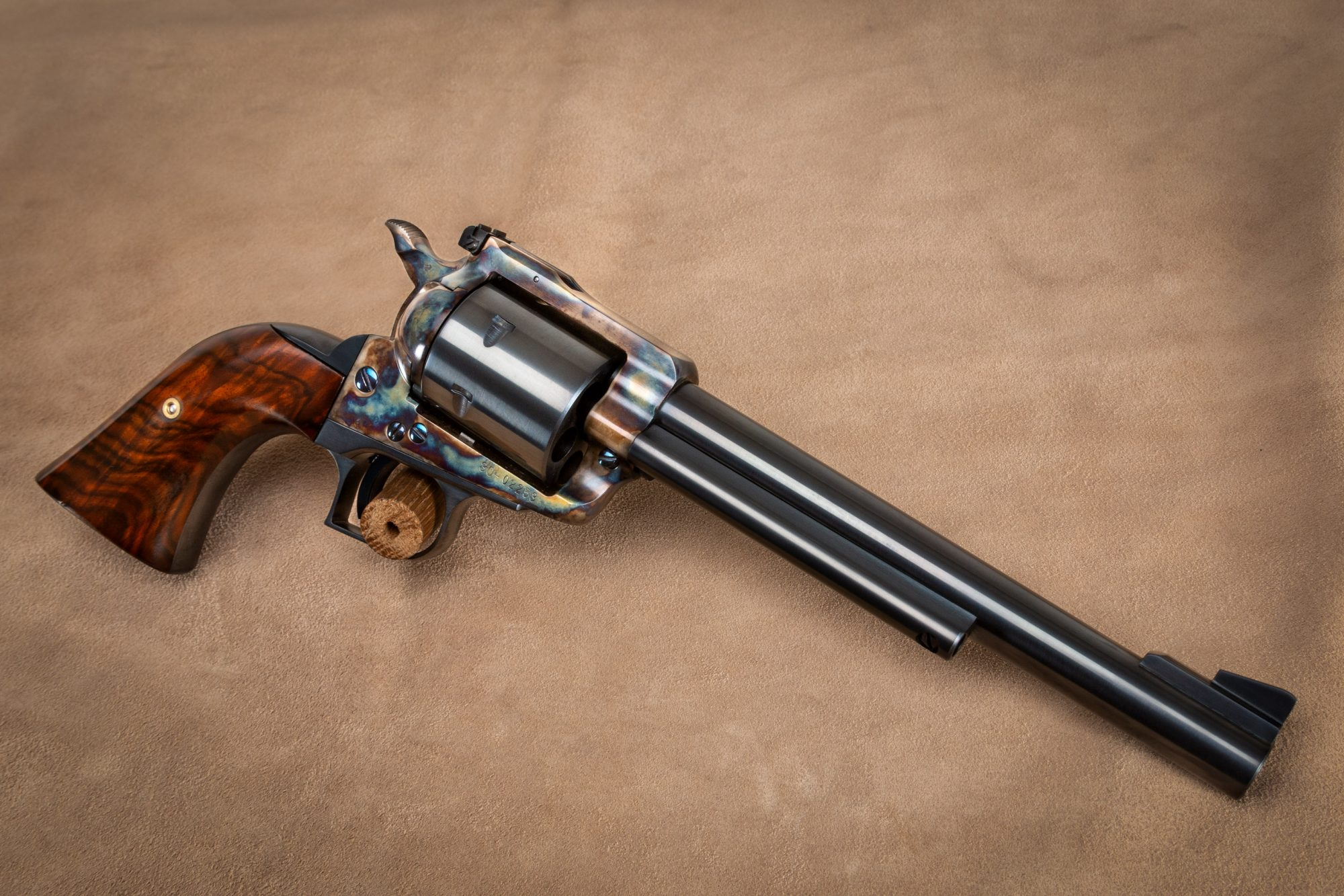 Photo of a Ruger Super Blackhawk with bone charcoal color case hardening by Turnbull Restoration