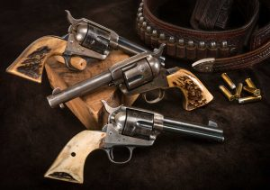 Photo of Colt single action army revolver collection in original condition, as previously sold by Turnbull Restoration