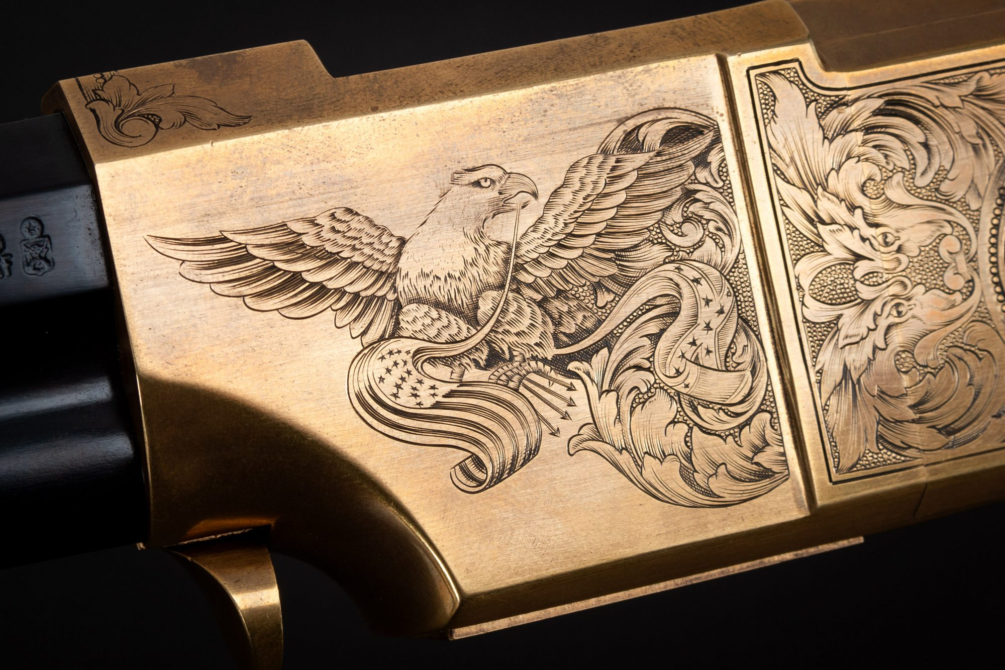 Close-up photo of a Navy Arms A. Uberti 1860 Henry, Engraved by FEGA Master Lee Griffiths, sold as-is by Turnbull Restoration