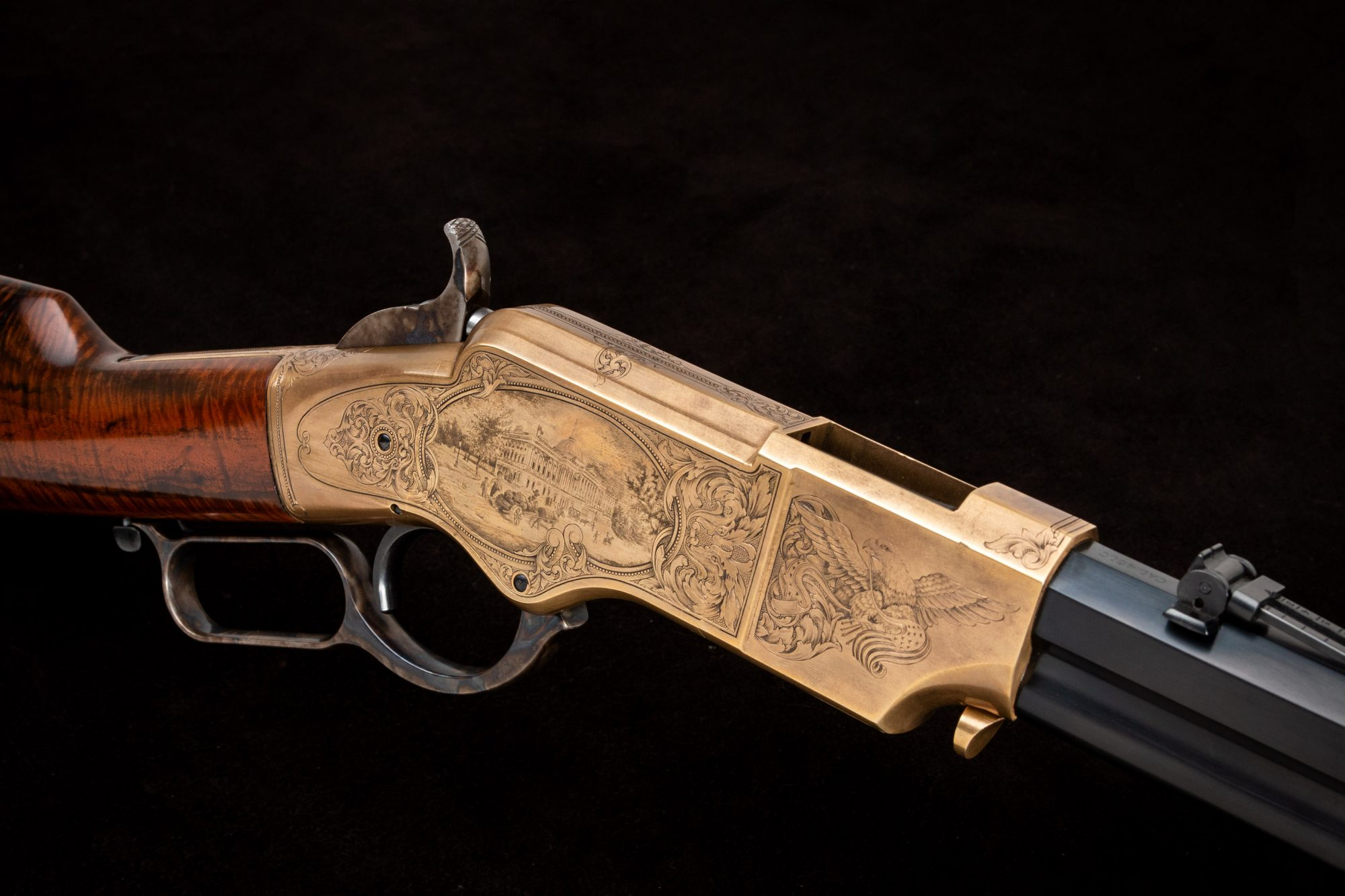 Photo of a Navy Arms A. Uberti 1860 Henry, Engraved by FEGA Master Lee Griffiths, sold as-is by Turnbull Restoration