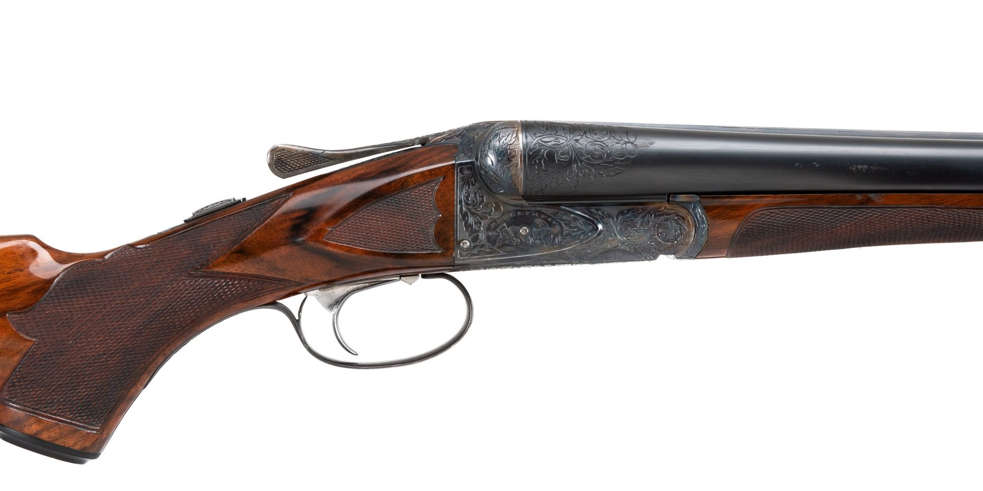 Photo of pre-owned A.H. Fox XE 12 gauge shotgun, featuring metal restoration by Turnbull Restoration