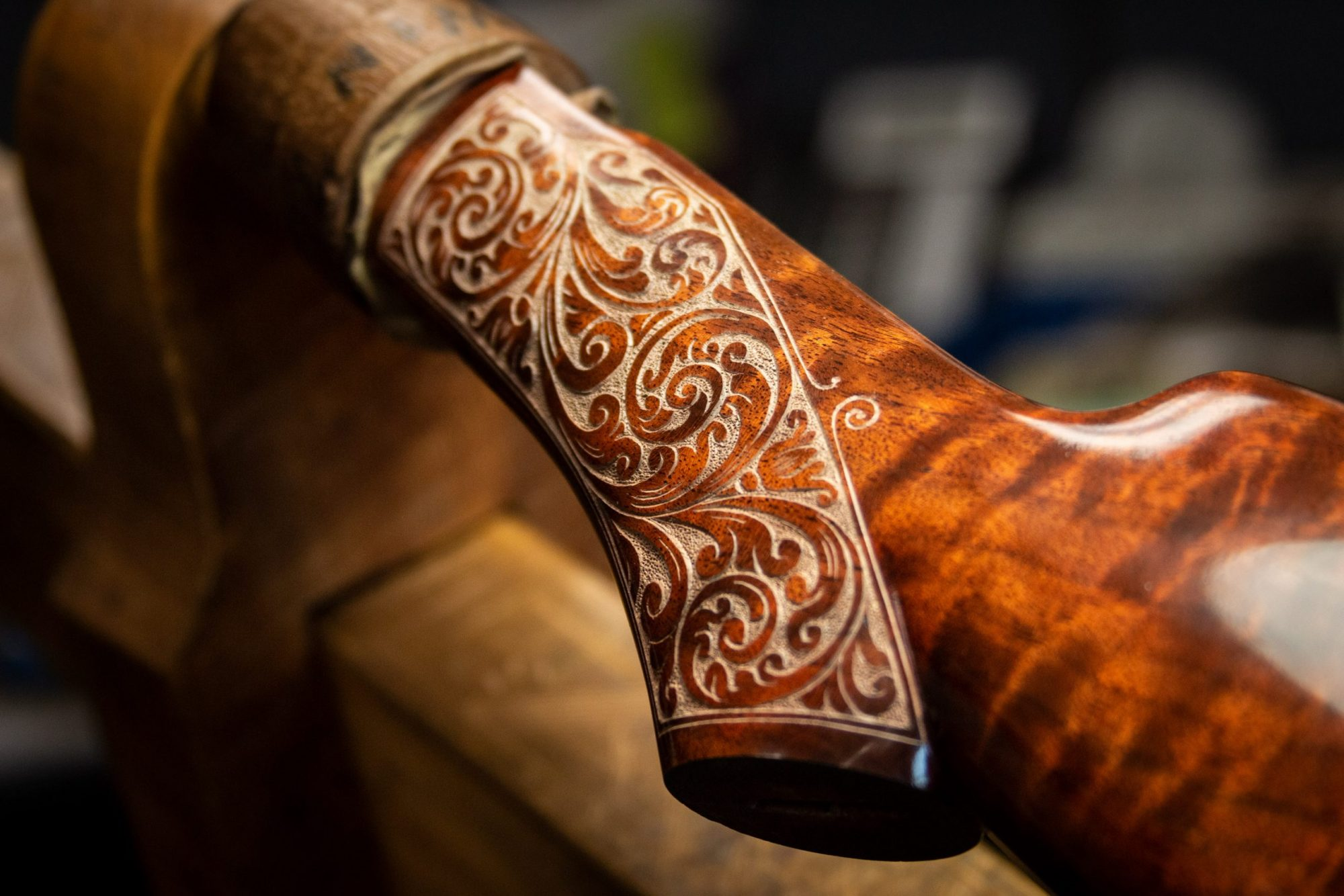 Photo of carved grip on a fully restored Winchester Model 1892 from 1914, performed by Turnbull Restoration in Bloomfield, NY