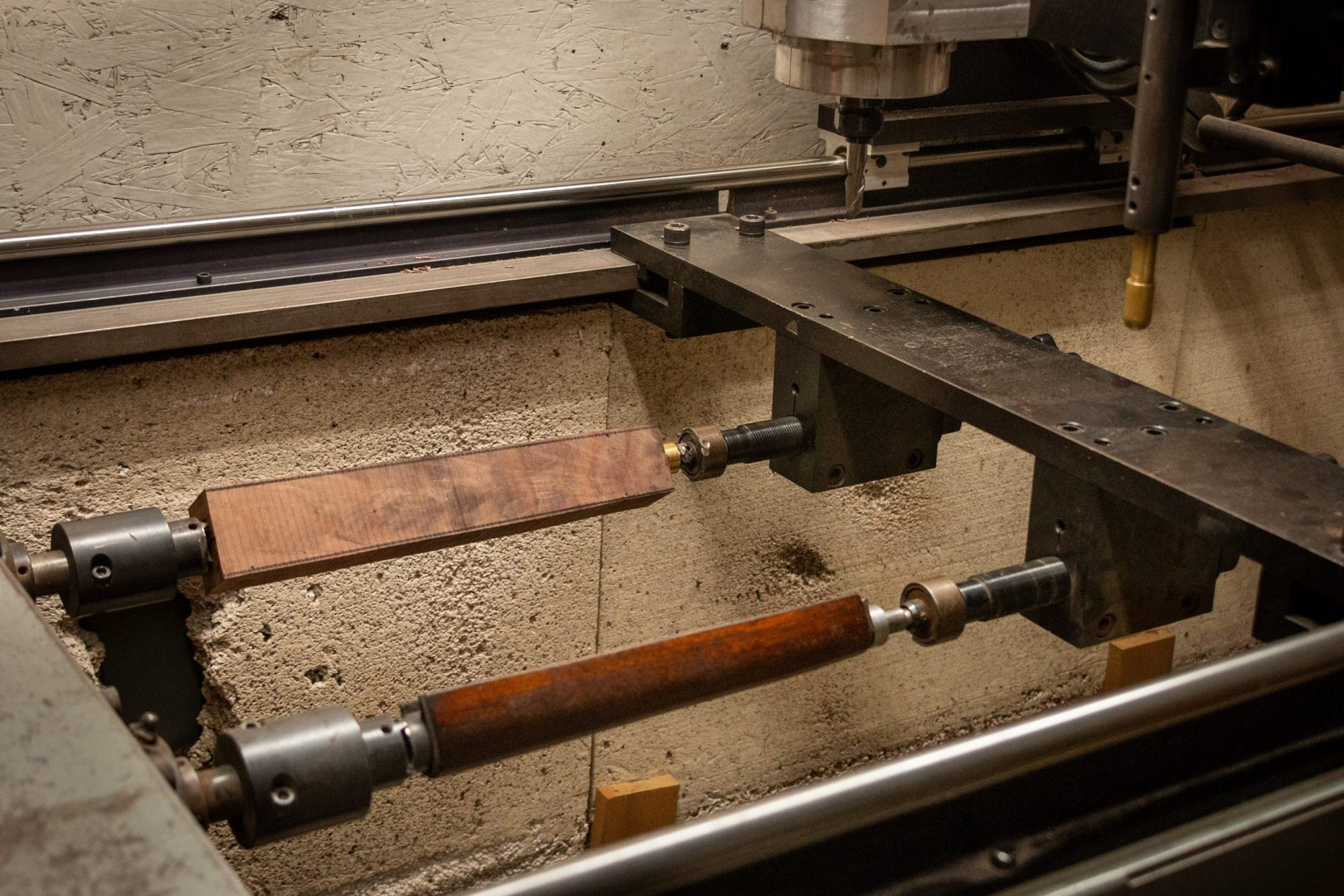 Photo of forend making in a stock duplicator on a fully restored Winchester Model 1892 from 1914, performed by Turnbull Restoration in Bloomfield, NY