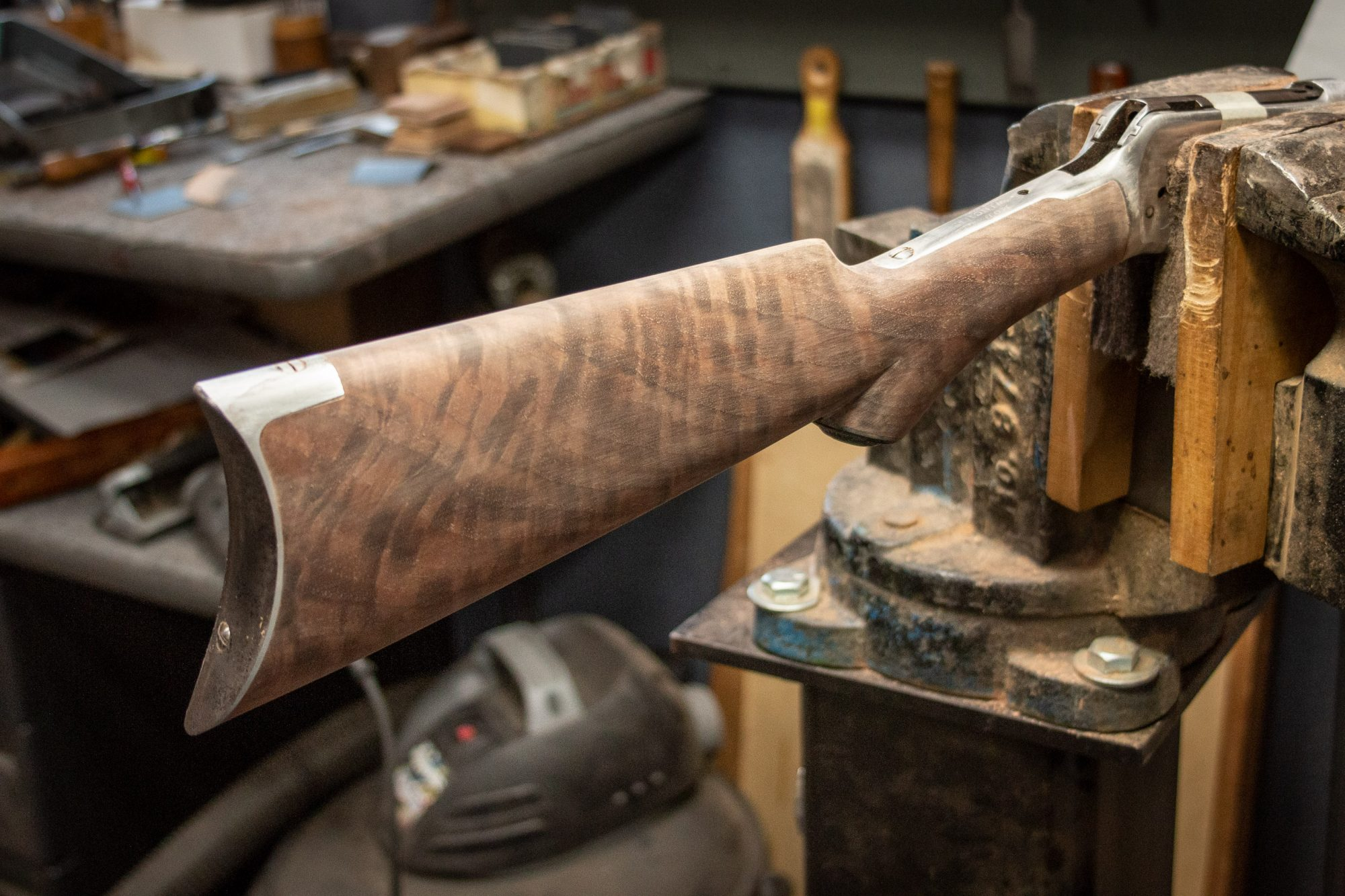 Photo of buttstock making on a fully restored Winchester Model 1892 from 1914, performed by Turnbull Restoration in Bloomfield, NY