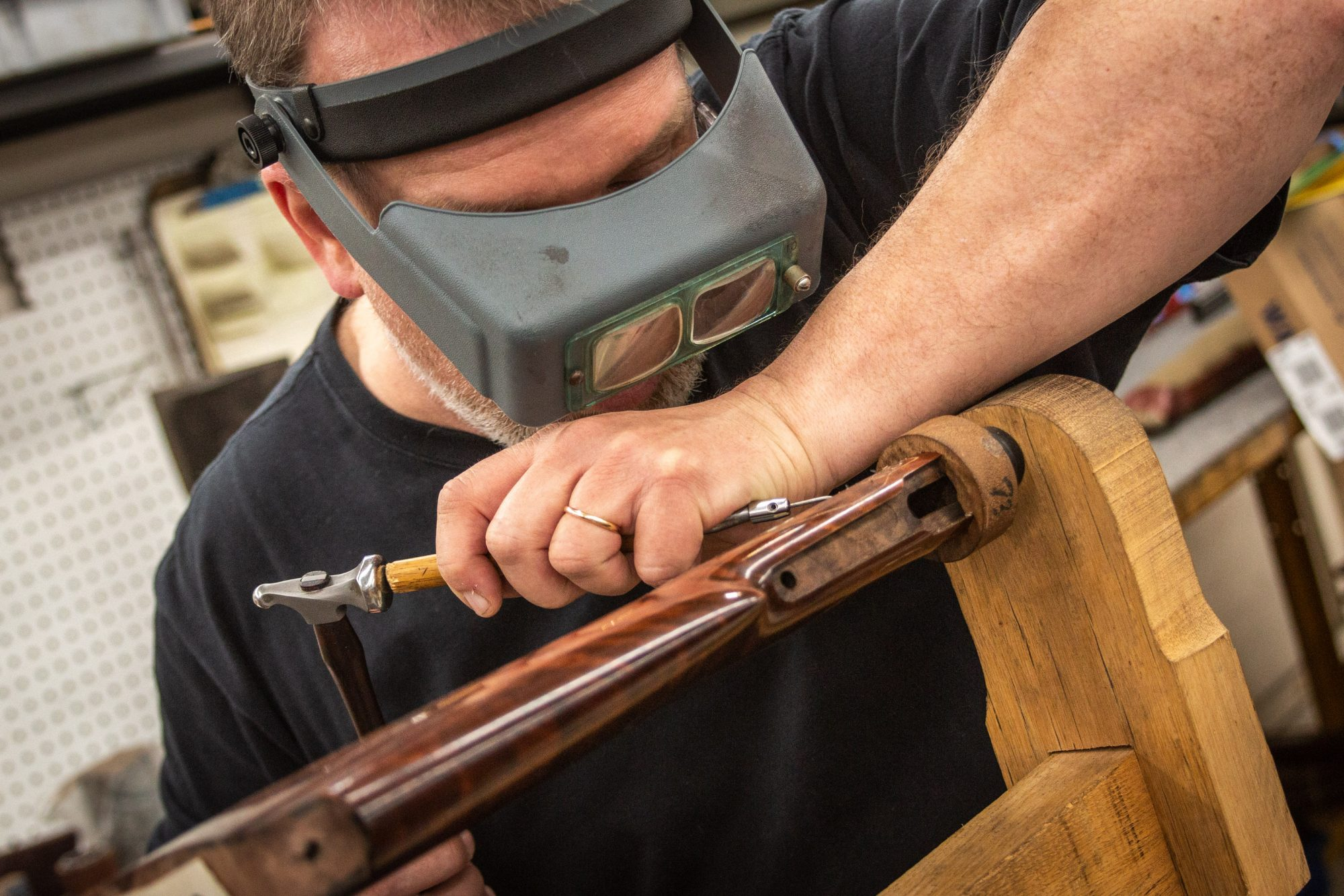 Photo of grip carving on a fully restored Winchester Model 1892 from 1914, performed by Turnbull Restoration in Bloomfield, NY