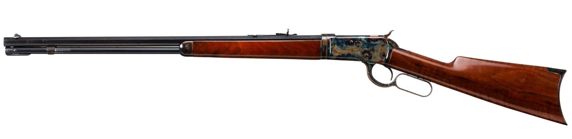 Photo of a pre-owned Winchester 1892 that has been color case hardened by Turnbull Restoration