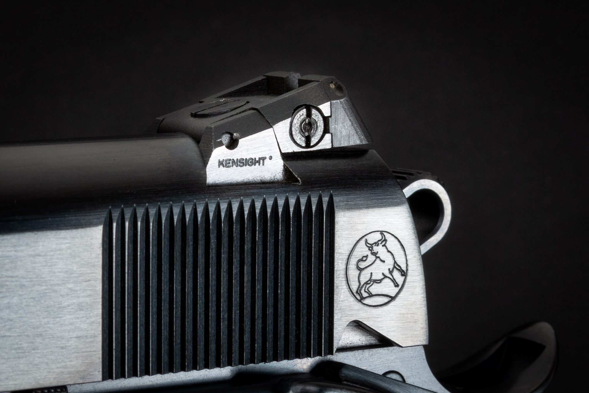 Close-up photo of a Kensight tritium adjustable rear sight on a Turnbull Model 1911 Government, featuring period-correct charcoal bluing