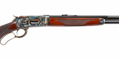 Photo of a late model Winchester 1886 featuring Turnbull Restoration finishes including color case hardening