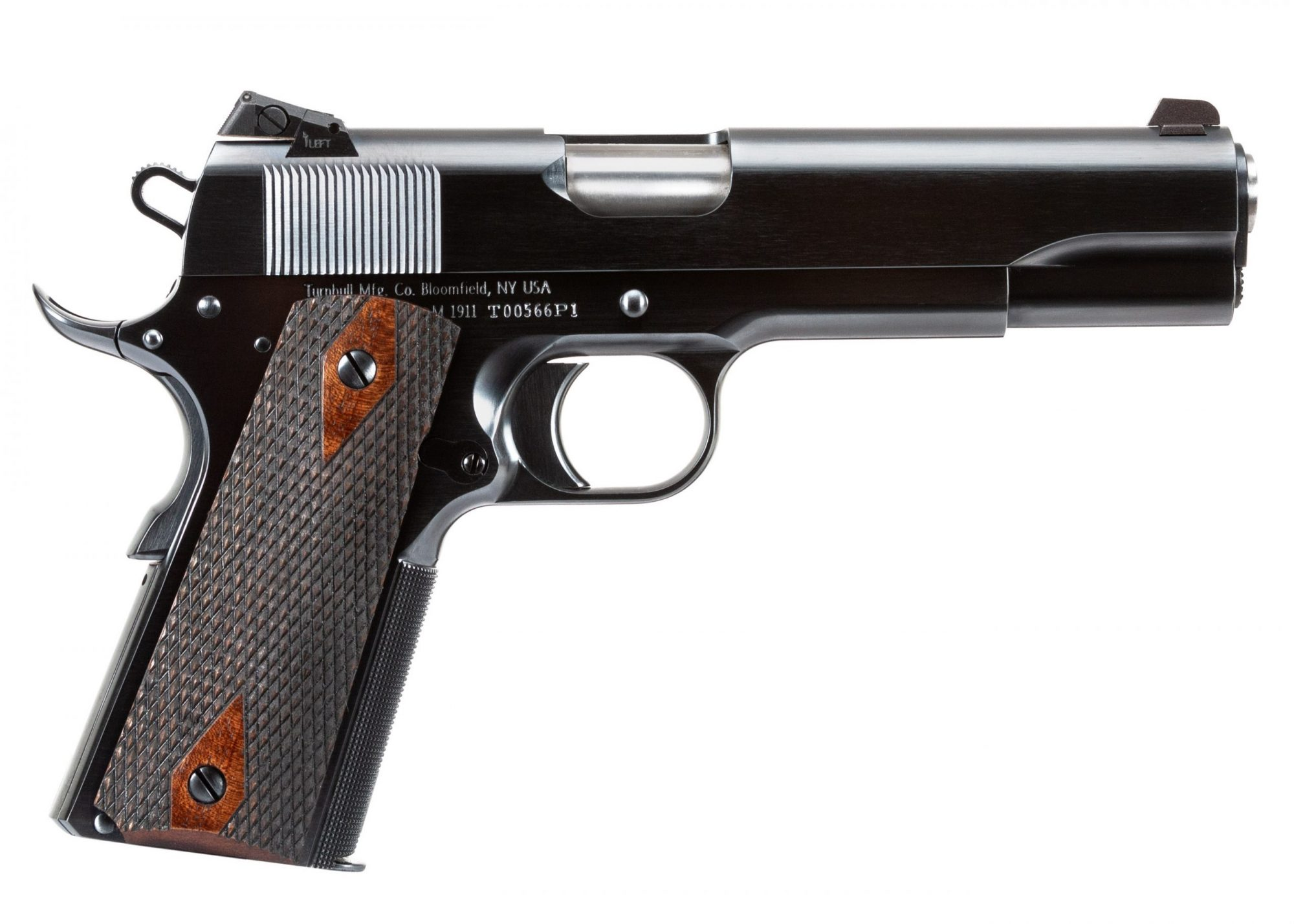 Photo of a Turnbull Model 1911 Government, featuring period-correct charcoal bluing