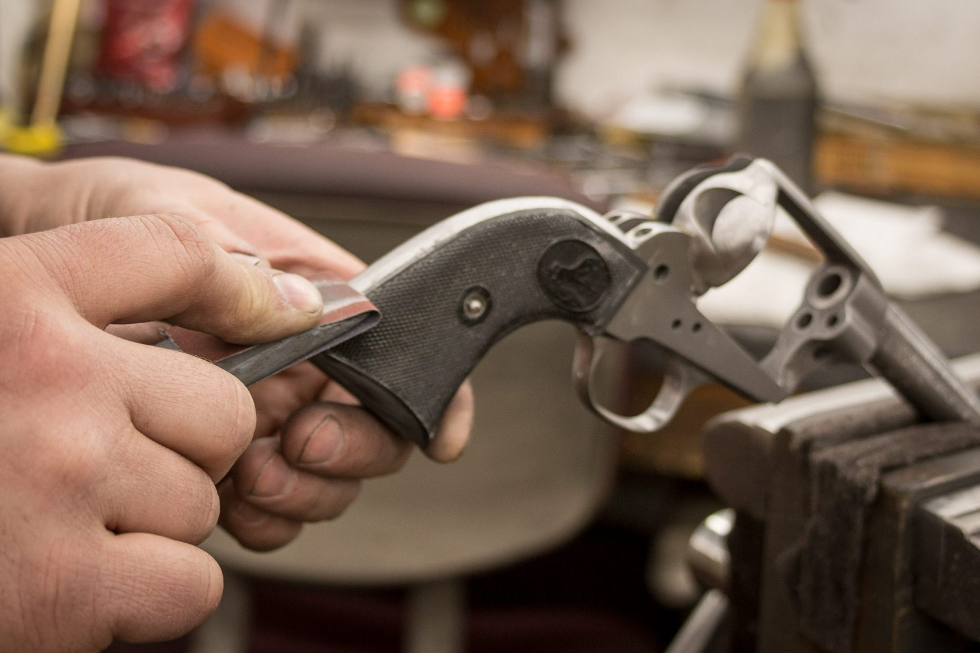 Photo of an antique Colt SAA undergoing restoration by Turnbull Restoration of Bloomfield NY