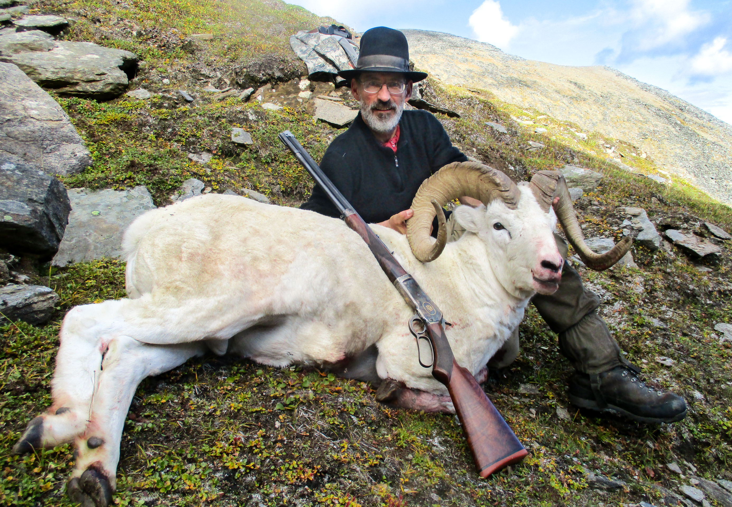 Photo of Doug Turnbull's 2016 Dall sheep hunt in the Alaskan Brooks Range, using his restored Winchester 1886 in .475 Turnbull