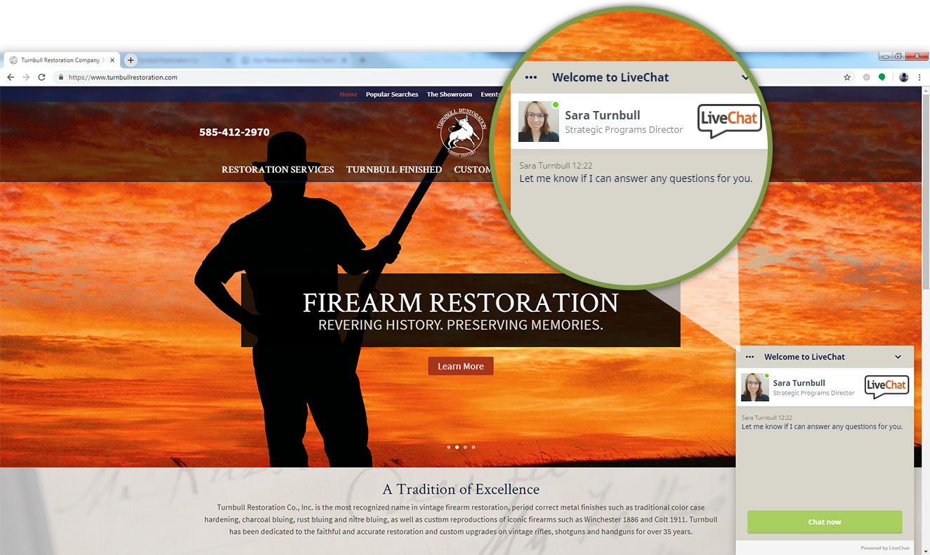 Image of Turnbull Restoration's website live chat feature